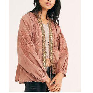 Free People Jasmine Embroidered Beaded Jacket.  S